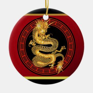 Año chino adornado del dragón adorno navideño redondo de cerámica