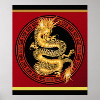 Año chino adornado del poster 2012 del dragón