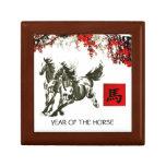 Año chino de la caja de regalo del caballo joyero cuadrado pequeño