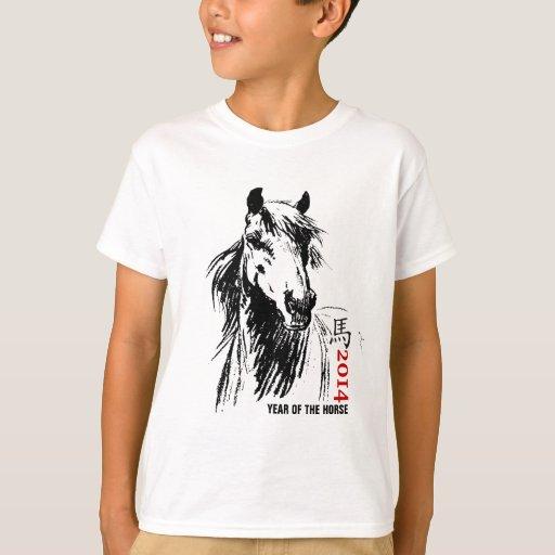 Año chino de las camisetas del caballo remeras