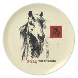 Año chino de las placas del regalo del caballo plato para fiesta