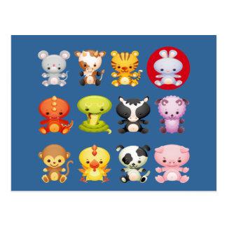 Año chino de los animales del zodiaco del conejo postal