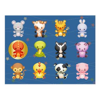 Año chino de los animales del zodiaco del dragón tarjetas postales