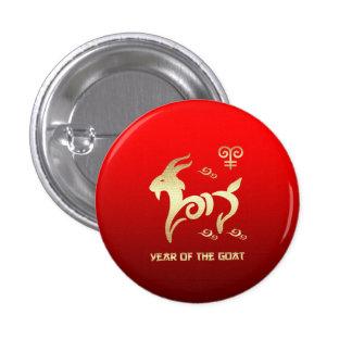 Año chino de los botones del regalo de la cabra pin redondo de 1 pulgada