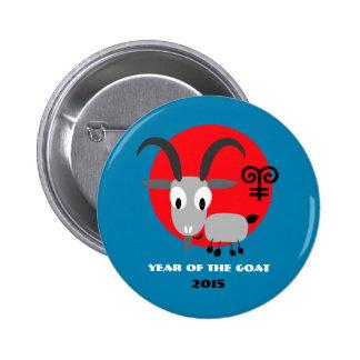Año chino de los botones del regalo de la cabra pin redondo de 2 pulgadas