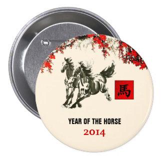 Año chino de los botones del regalo del caballo pin redondo de 3 pulgadas