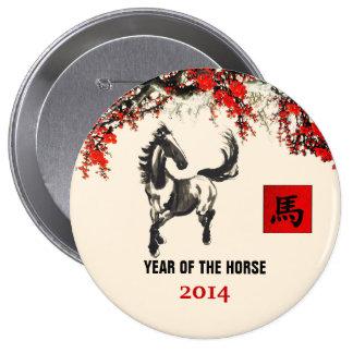Año chino de los botones del regalo del caballo pin redondo de 4 pulgadas