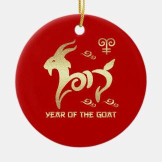 Año chino de los ornamentos del regalo de la cabra adorno navideño redondo de cerámica