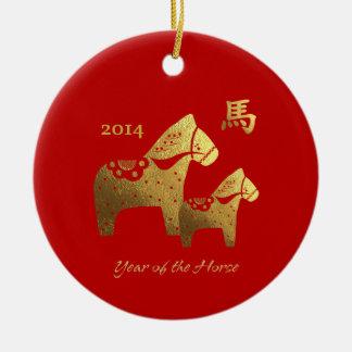 Año chino de los ornamentos del regalo del caballo adorno navideño redondo de cerámica