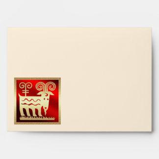 Año chino de los sobres de la cabra/del espolón/de