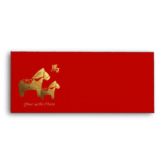 Año chino de los sobres del rojo del caballo