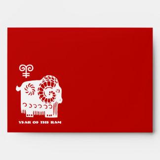 Año chino de los sobres del rojo del espolón/de