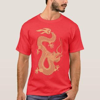 Año chino de oro de la camiseta del dragón