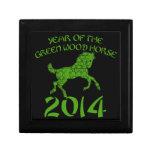 Año chino del caballo de madera verde cajas de joyas