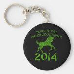 Año chino del caballo de madera verde llaveros personalizados