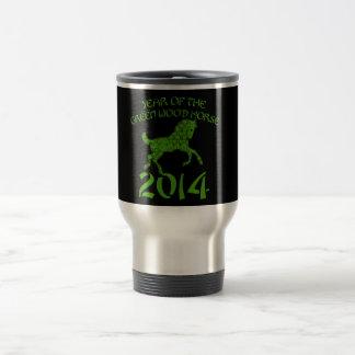 Año chino del caballo de madera verde taza de viaje