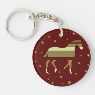 Año chino del caballo llavero redondo acrílico a una cara