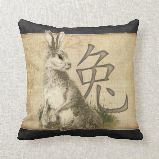 Año chino del conejo cojín decorativo