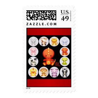 Año chino del dragón rojo y negro sello