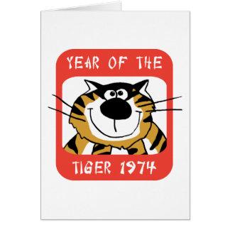 Año chino del regalo 1974 del tigre tarjeta de felicitación