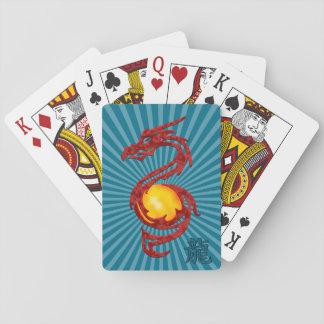 Año chino del rojo metálico del dragón baraja de póquer