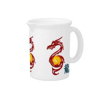 Año chino del rojo metálico del dragón jarra