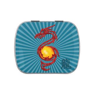 Año chino del rojo metálico del dragón latas de caramelos