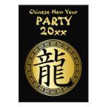 Año chino del símbolo del fiesta BGB del dragón Invitacion Personalizada