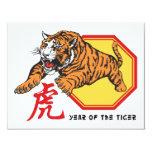 Año chino del tigre invitación 10,8 x 13,9 cm