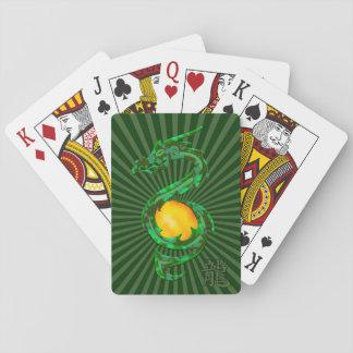 Año chino del verde de jade del dragón barajas de cartas
