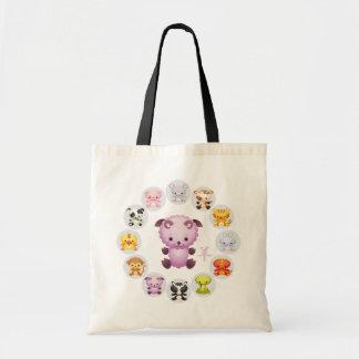 Año chino del zodiaco de la cabra redonda bolsas de mano