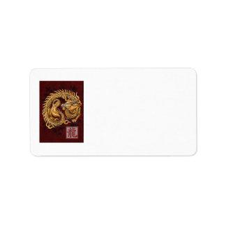 Año chino del zodiaco de la etiqueta de dirección