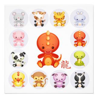 Año chino del zodiaco de la invitación del fiesta