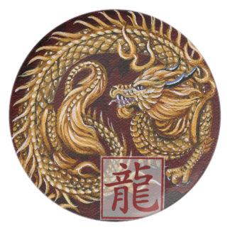 Año chino del zodiaco de la placa del dragón platos para fiestas