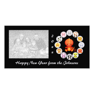 Año chino del zodiaco de la tarjeta de la foto del tarjeta personal con foto