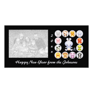 Año chino del zodiaco de la tarjeta de la foto del tarjetas fotográficas personalizadas