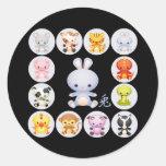 Año chino del zodiaco de los pegatinas del conejo etiqueta redonda