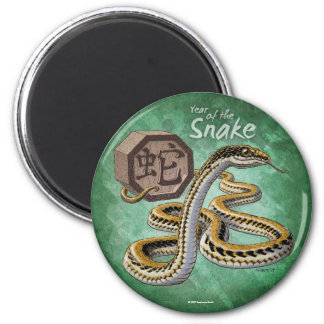 Año chino del zodiaco del arte de la serpiente imán redondo 5 cm