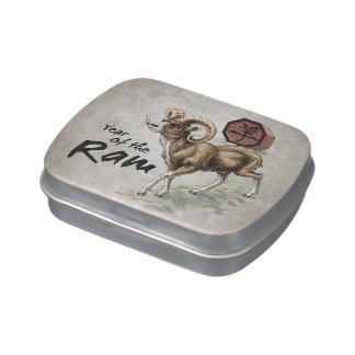 Año chino del zodiaco del arte del espolón latas de caramelos