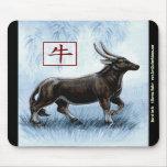 Año chino del zodiaco del buey Mousepad Tapete De Ratones