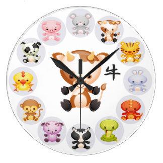Año chino del zodiaco del buey reloj redondo grande