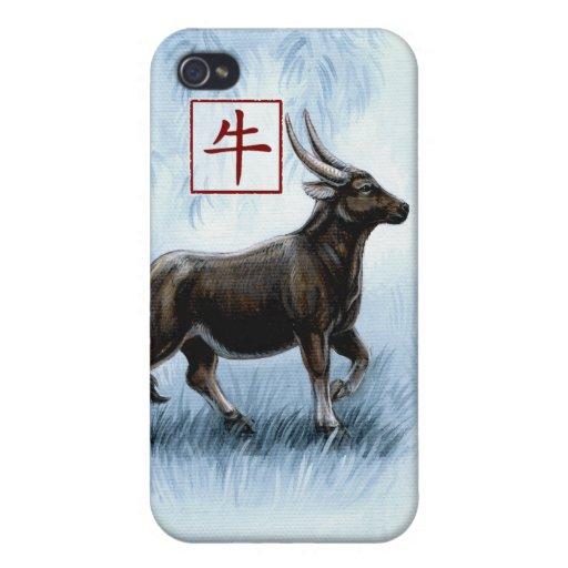 Año chino del zodiaco del caso del buey iPhone4 iPhone 4/4S Carcasas
