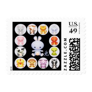 Año chino del zodiaco del conejo sellos