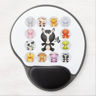 Año chino del zodiaco del cuadrado del caballo alfombrillas de ratón con gel