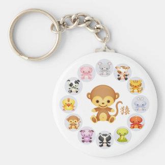 Año chino del zodiaco del mono redondo llavero redondo tipo pin