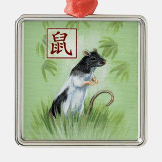 Año chino del zodiaco del ornamento de la rata adorno navideño cuadrado de metal