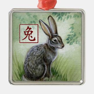 Año chino del zodiaco del ornamento del conejo adorno navideño cuadrado de metal