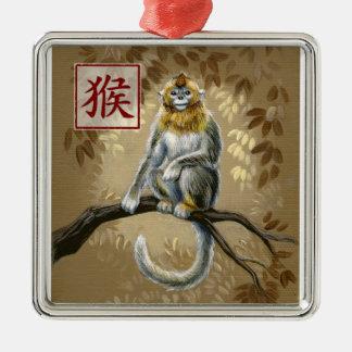 Año chino del zodiaco del ornamento del mono adorno navideño cuadrado de metal