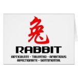 Año chino del zodiaco del regalo del conejo tarjeta