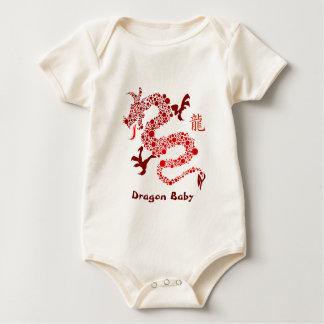 Año chino rojo de la enredadera del bebé del mamelucos